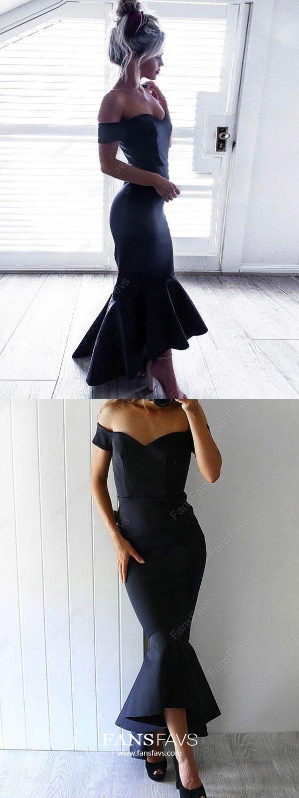 Dark navy prom dresses high low mermaid prom dresses for teens