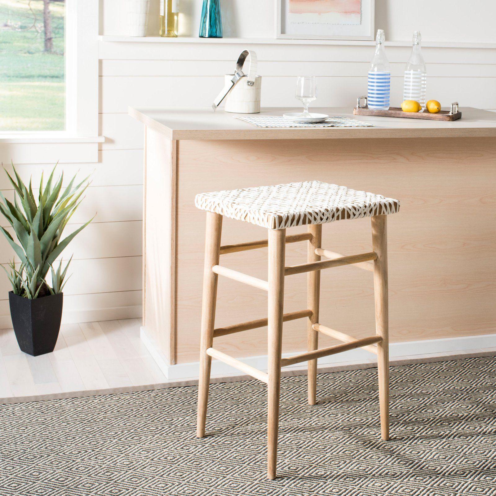 Outstanding Safavieh Kaleo 30 In Woven Leather Bar Stool In 2019 Lamtechconsult Wood Chair Design Ideas Lamtechconsultcom