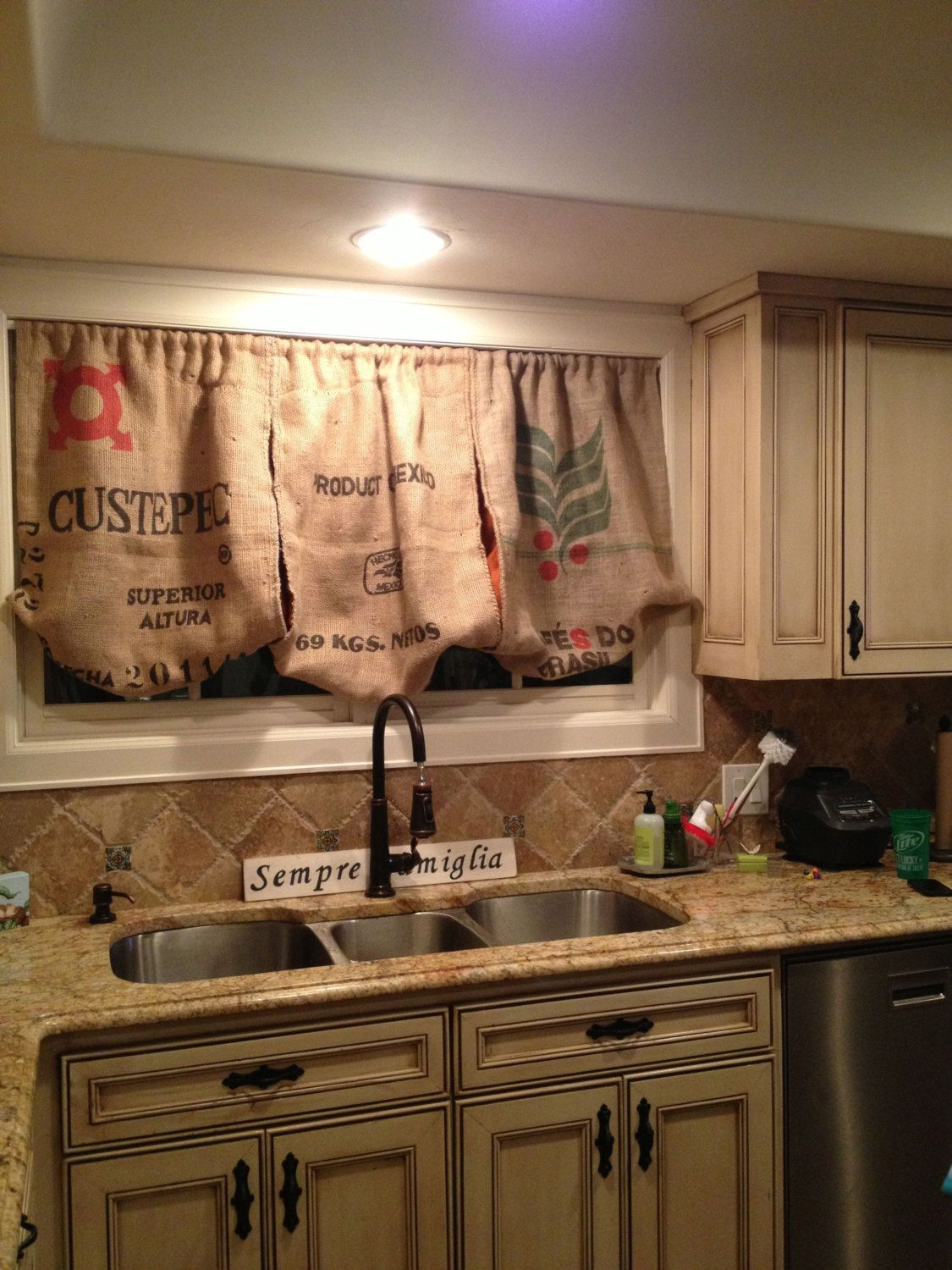 Red kitchen curtains and valances - Burlap Kitchen Valance By Peytonsfaves On Etsy 98 00