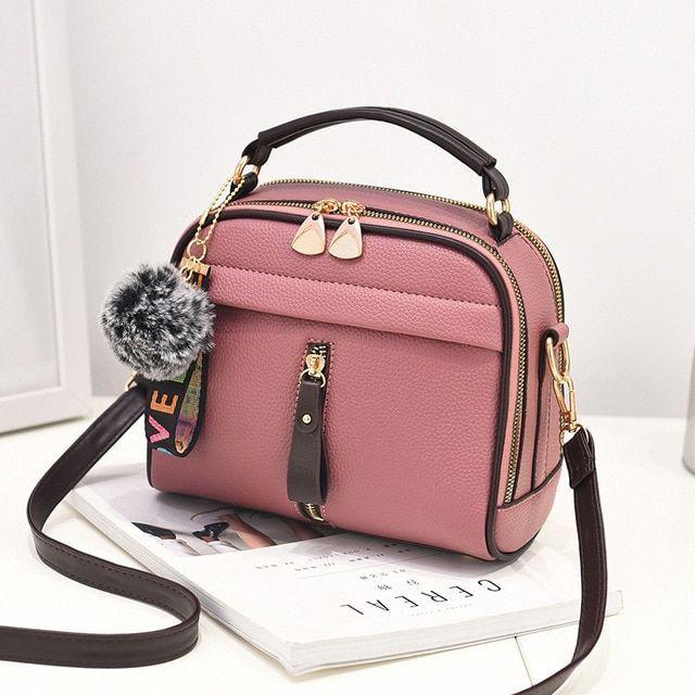 Women Shoulder Bags Crossbody Bag Handbag PU Leather Full Moon Candy Color Cute With Fur Ball Shell Shape Bag Color Black Size 22X11X18cm