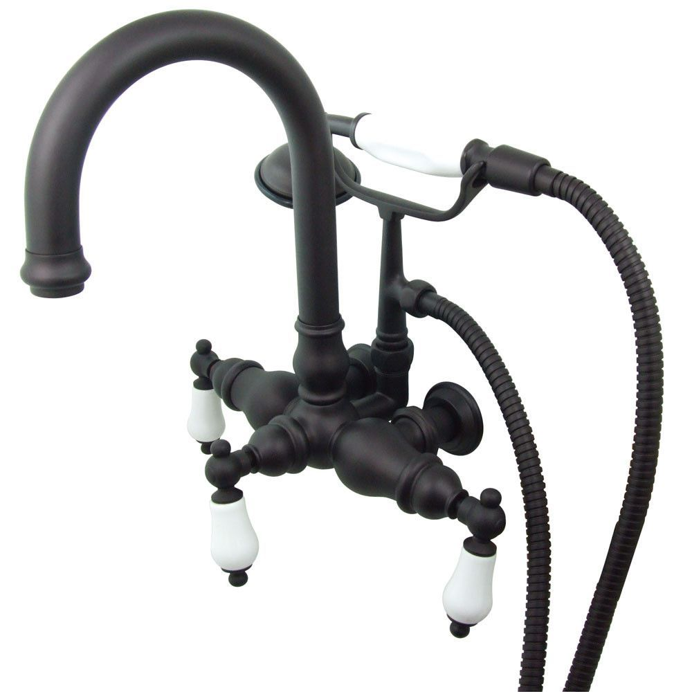 Kingston Oil Rubbed Bronze Wall Mount Clawfoot Tub Faucet w hand ...