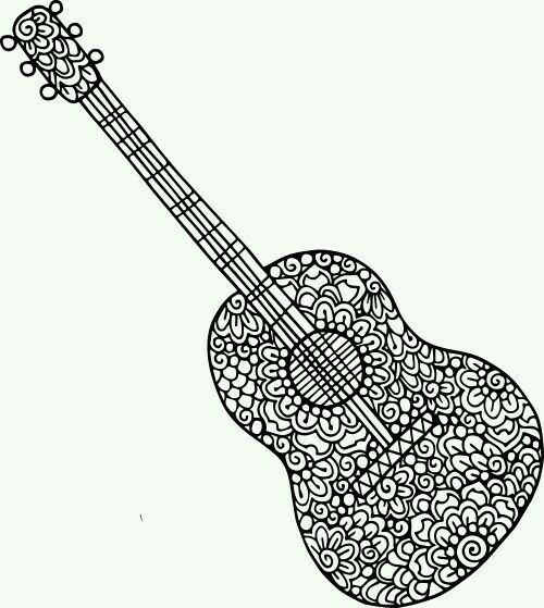 Guitar Coloring Page Guitar Doodle Doodle Coloring Music Coloring