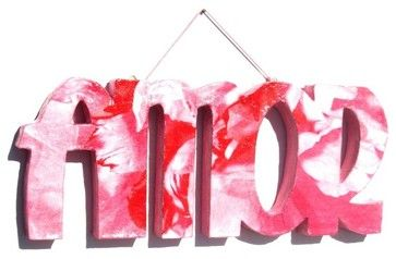 "accessories for paper mache | 3D paper mache word ""AMOR"" modern accessories and decor"