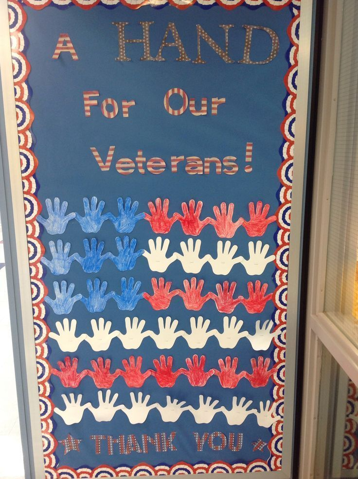 Veterans Day Bulletin Board - A Hand For Our Veterans! Thank You #novemberbulletinboards