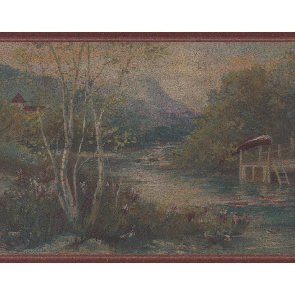 Retro Art Vintage Wooden House by Mountain River in the