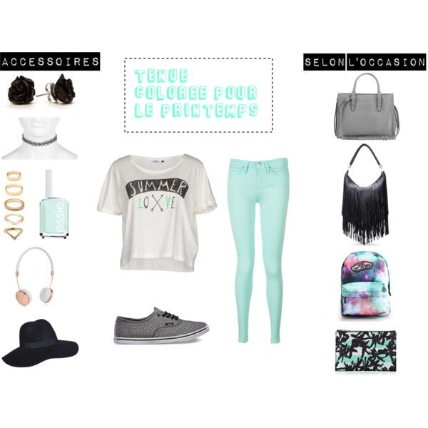 tenue colorée pour le printemps on Polyvore featuring mode, ONLY, Tommy Hilfiger, Vans, Balenciaga, Kenzo, Forever 21, River Island, Frends and Essie