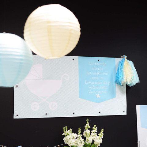 Banner | Kinderwagen Blauw #babyborrel #baptism #banner #Beaublue