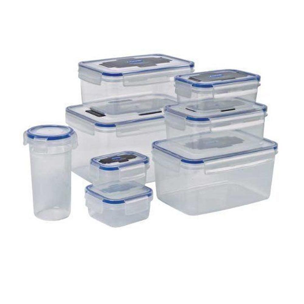 Addis Clip & Close 8 Piece Set Plastic Food Storage Container Air ...
