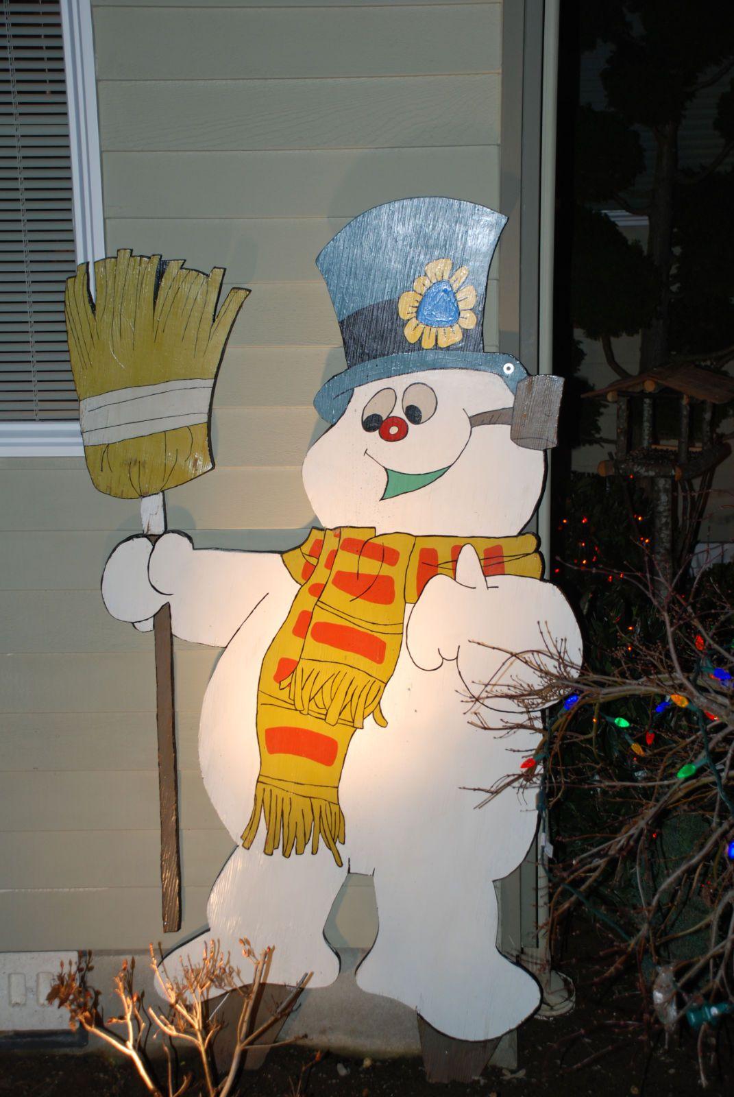 Frosty the snowmen wooden yard art diy decoration