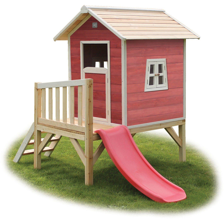 Spielhaus Auf Pfahlen Inklusive Veranda Und Rutsch Farbe Rot Exit Stelzen Spielhaus Beach 300 Rot Mit Rutsche Kinder Spielhaus Kinderspielhaus Spielhaus
