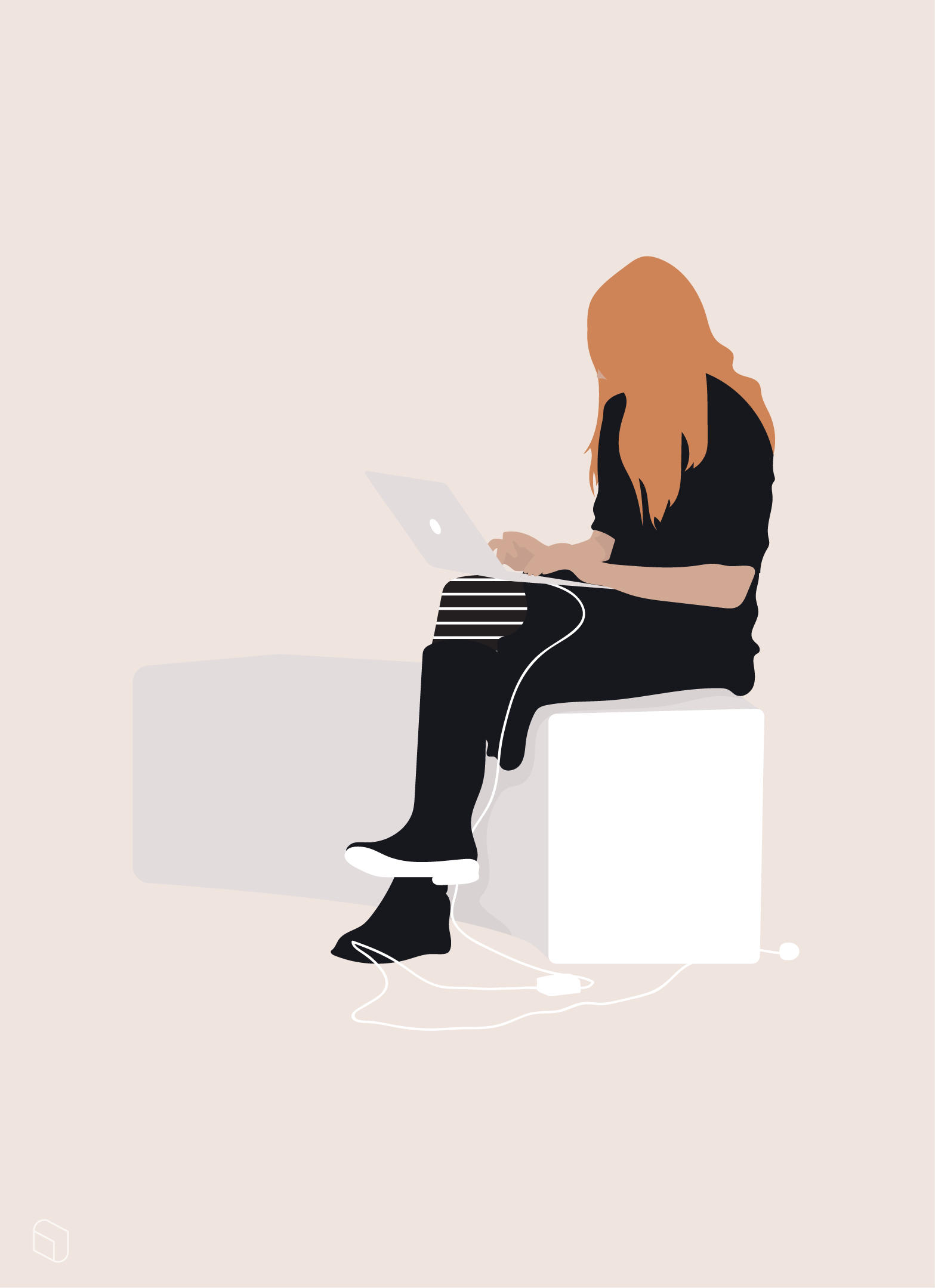 Flat Vector Woman Working With Laptop Flat Vector Woman People Illustration People Cutout Architecture People