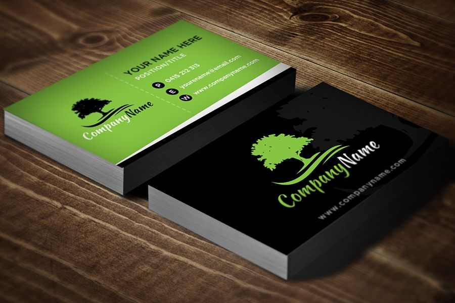 Landscaping Business Card Template Black Business Cards