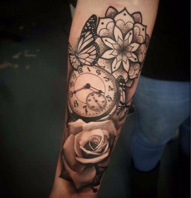Wrist Arm Clock Flower Tattoo Weird Tattoos Watch Tattoos Sleeve Tattoos
