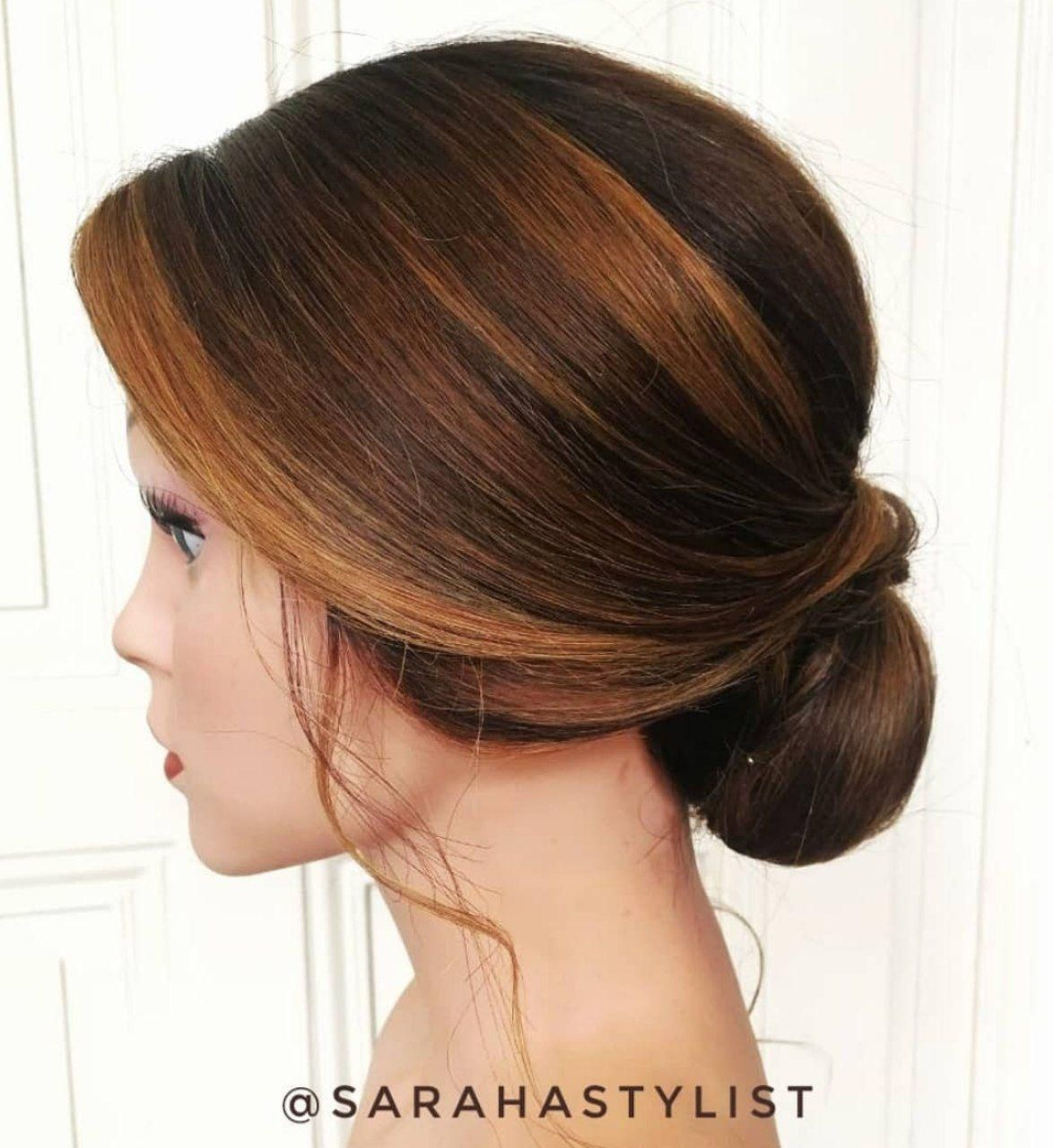 Timeless Effortless Updo With Chestnut Balayage Balayage Long Hair Styles Hair Styles