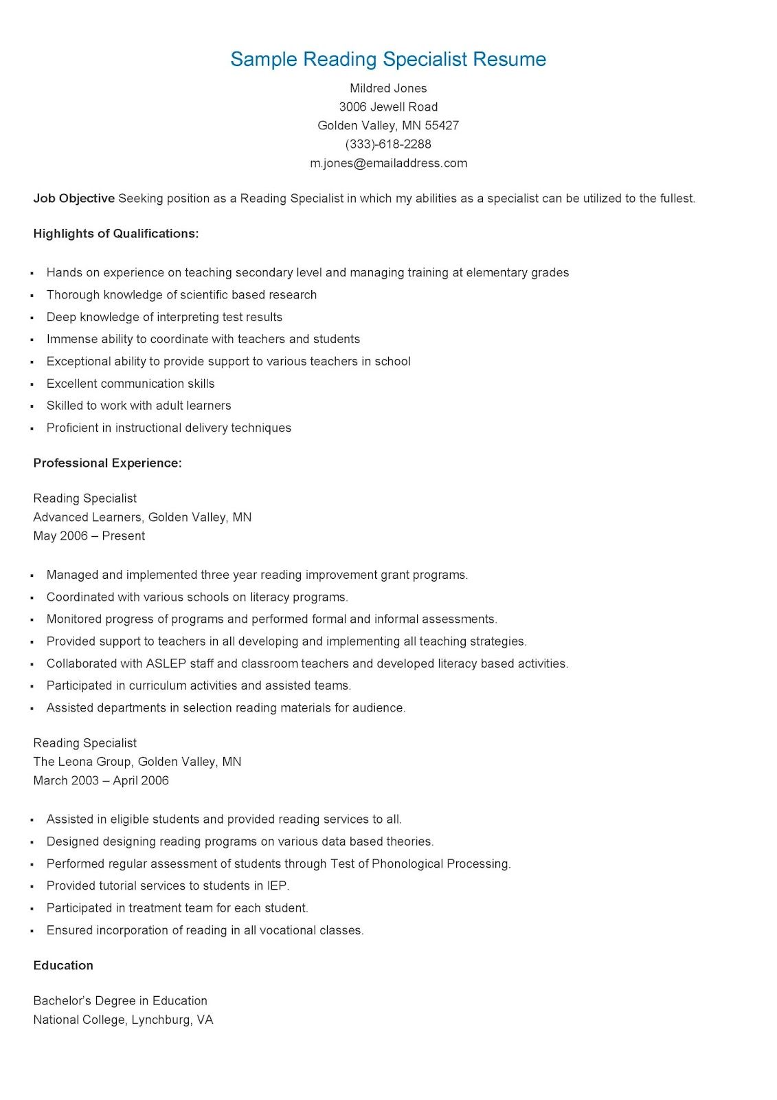 sample reading specialist resume