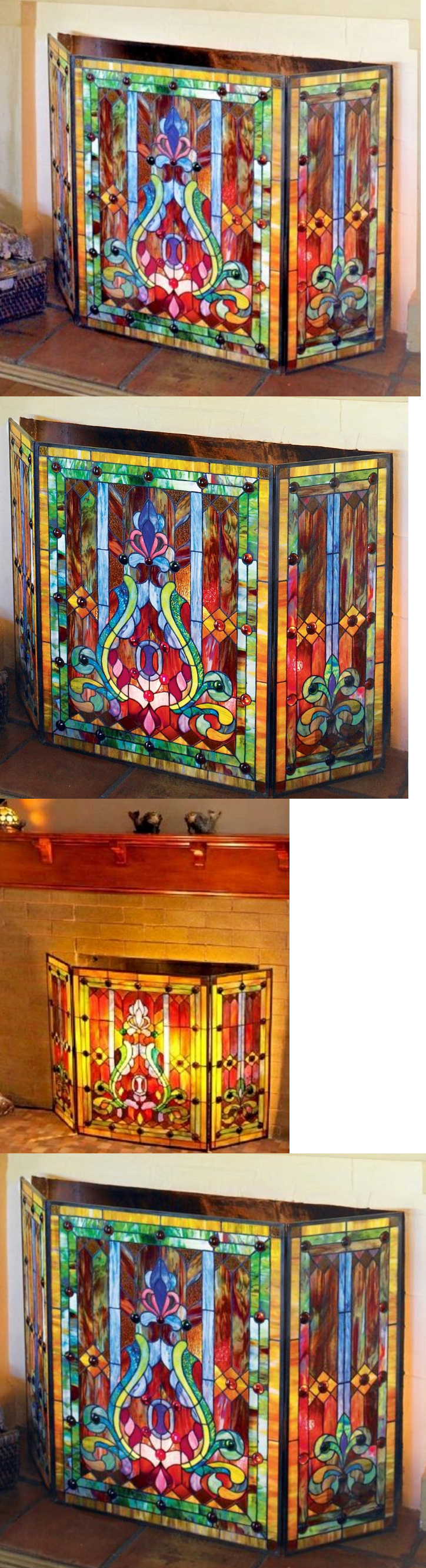 fireplace screens and doors 38221 tiffany style stained glass