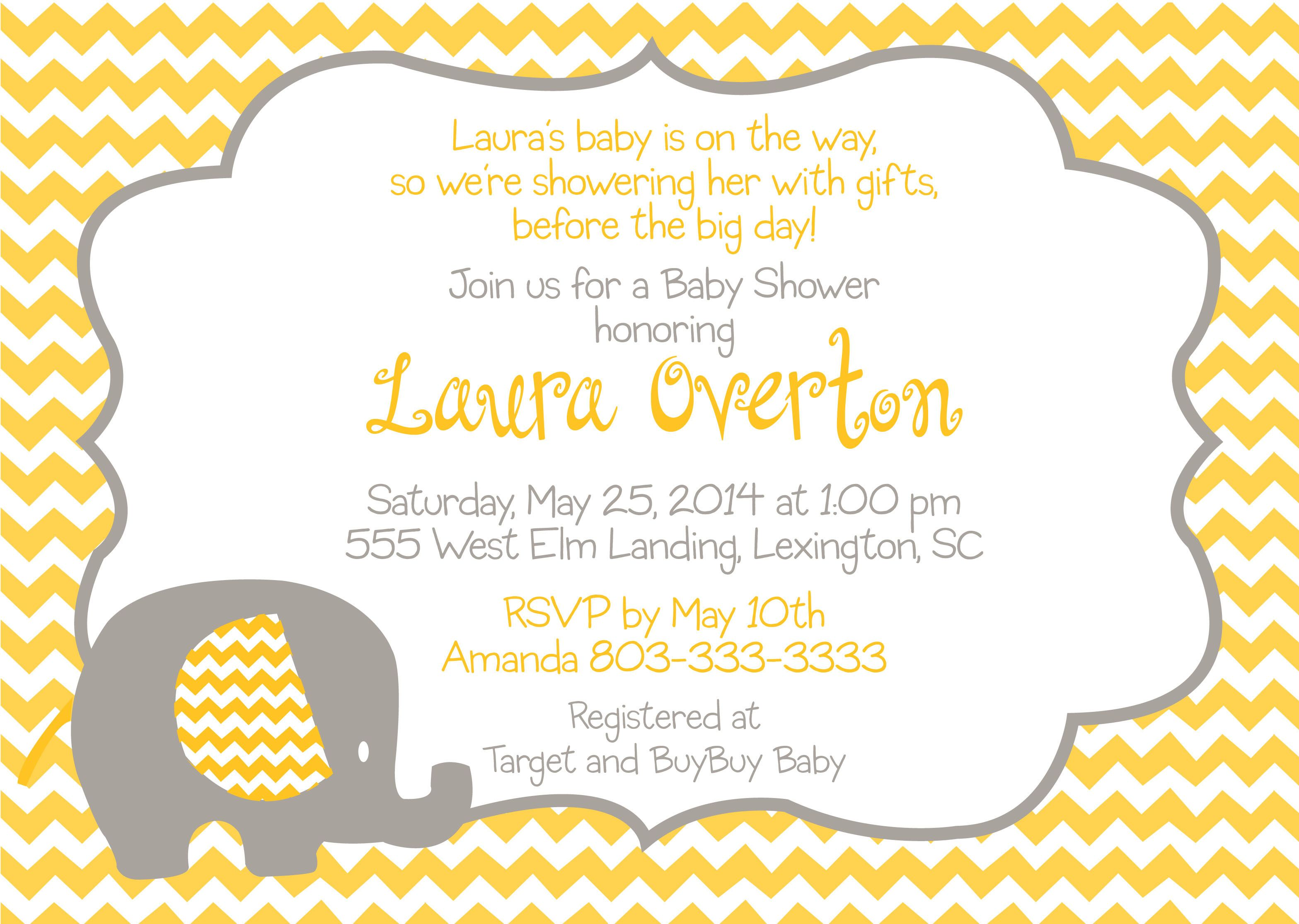 grey and yellow baby shower invitations - Google Search | baby ...