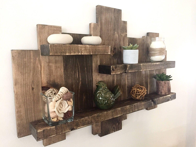 Wooden wall shelf, floating shelf, wood wall art, rustic ...