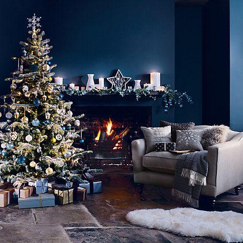 John Lewis Snowshill 7ft Pre Lit Pine Christmas Tree Blue Christmas Decor Wall Christmas Tree Christmas Room