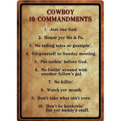 River's Edge Products Warning Cowboy 10 Commandment Tin Sign Wall Art
