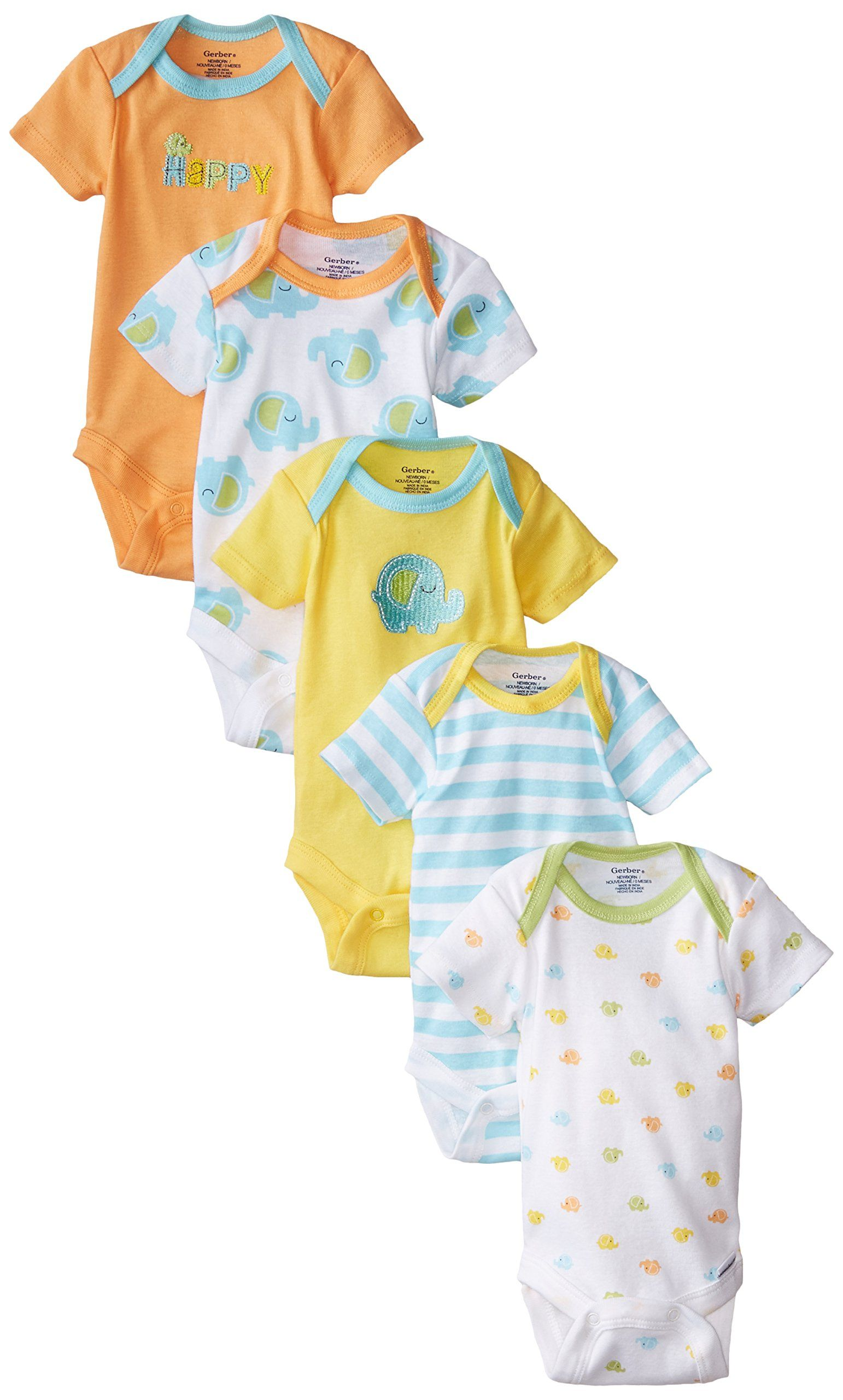 32f7f2a391ed2 Amazon.com: Gerber Unisex-Baby Newborn Five-Pack Variety Onesie ...