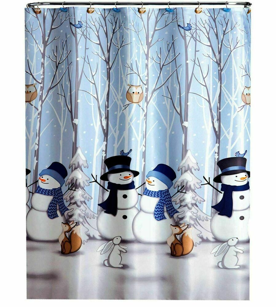 Winter Friends Holiday Snowman And Forest Animals Shower Curtain