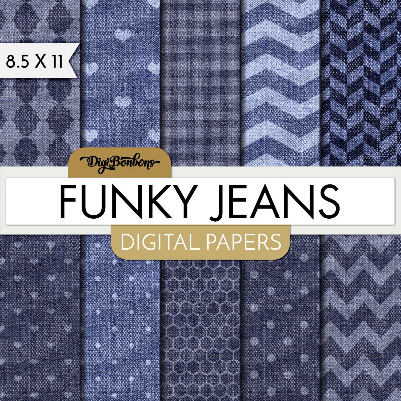 Scrapbook paper etsy - Denim Scrapbook Paper Funky Jeans Digital Papers 8 5 X 11 Paper Blue Jean