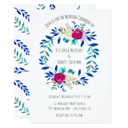 Simple watercolor floral boho wreath wedding invitation simple watercolor floral boho wreath wedding card wedding invitations cards custom invitation card design marriage stopboris Choice Image