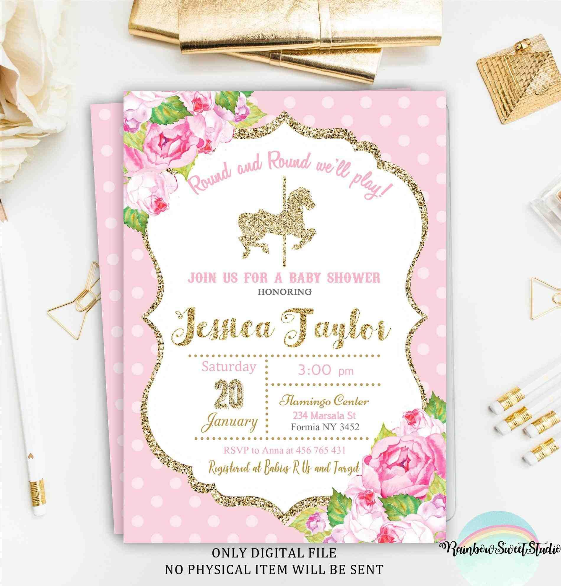 pink and gold carousel invitations . carousel horse birthday ...