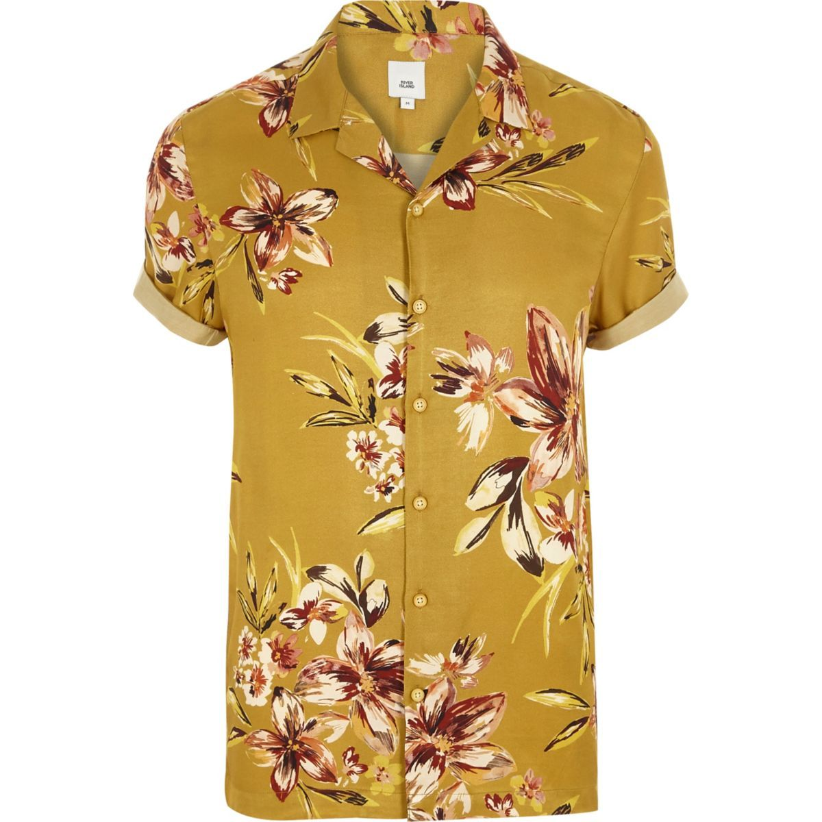 551bcd5d3e6 Mustard yellow floral short sleeve shirt - Short Sleeve Shirts ...