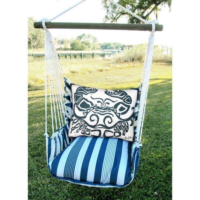 Magnolia Casual Marina Strip Outdoor Hammock Chair Set With Pillow