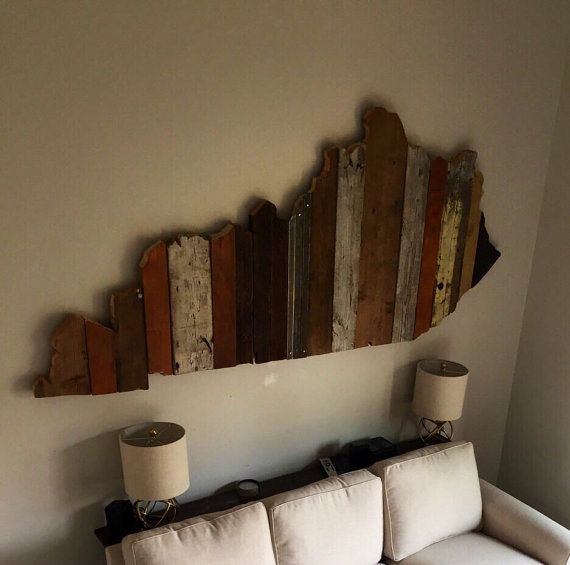 Kentucky Reclaimed Wood State Outline Wall Art Large Home Wood