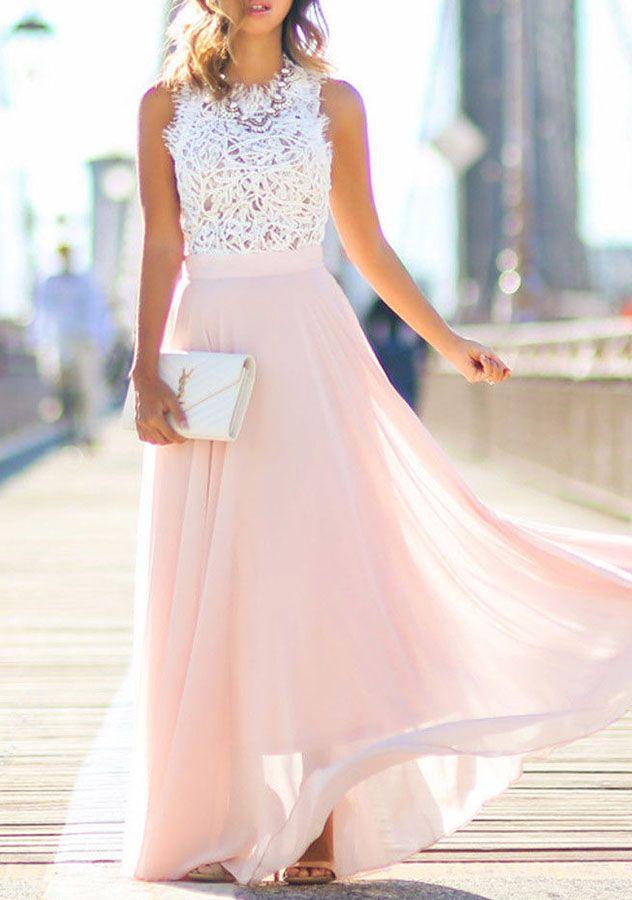 dc8b1c3b5b83 Sleeveless Lace Chiffon Maxi Dress