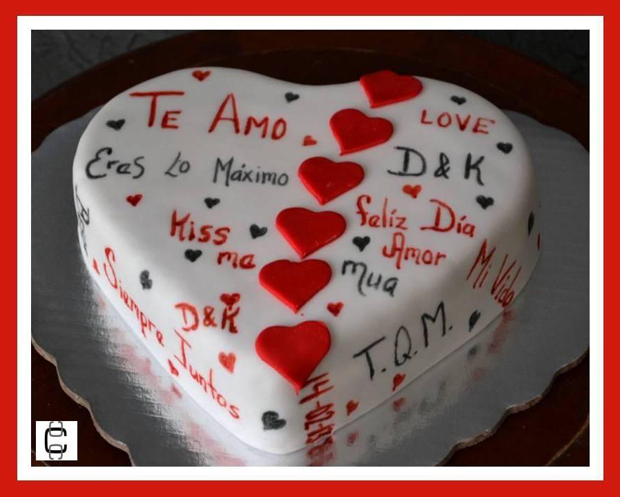 fondant valentines heart cake pastel de corazon para san valentin con mensajes