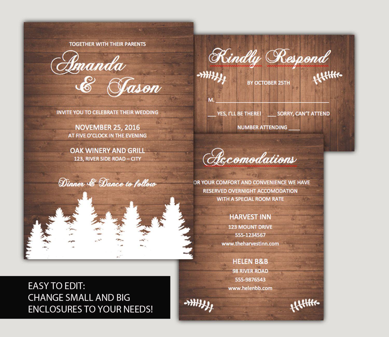 Diy wedding invitation template suite woodland wedding forest