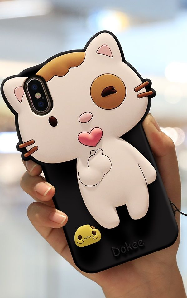 iPhone XS Max/XS/XR/X Case 3D Cartoon Cute Cat Silicone
