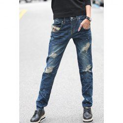 $17.13 Plaid Patch Pocket Distressed Wash Jeans For Women