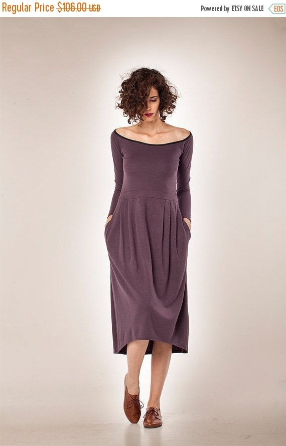 Women Dress/ Long Sleeves Dress/ Midi Dress/ Winter Dress/ Womens ...
