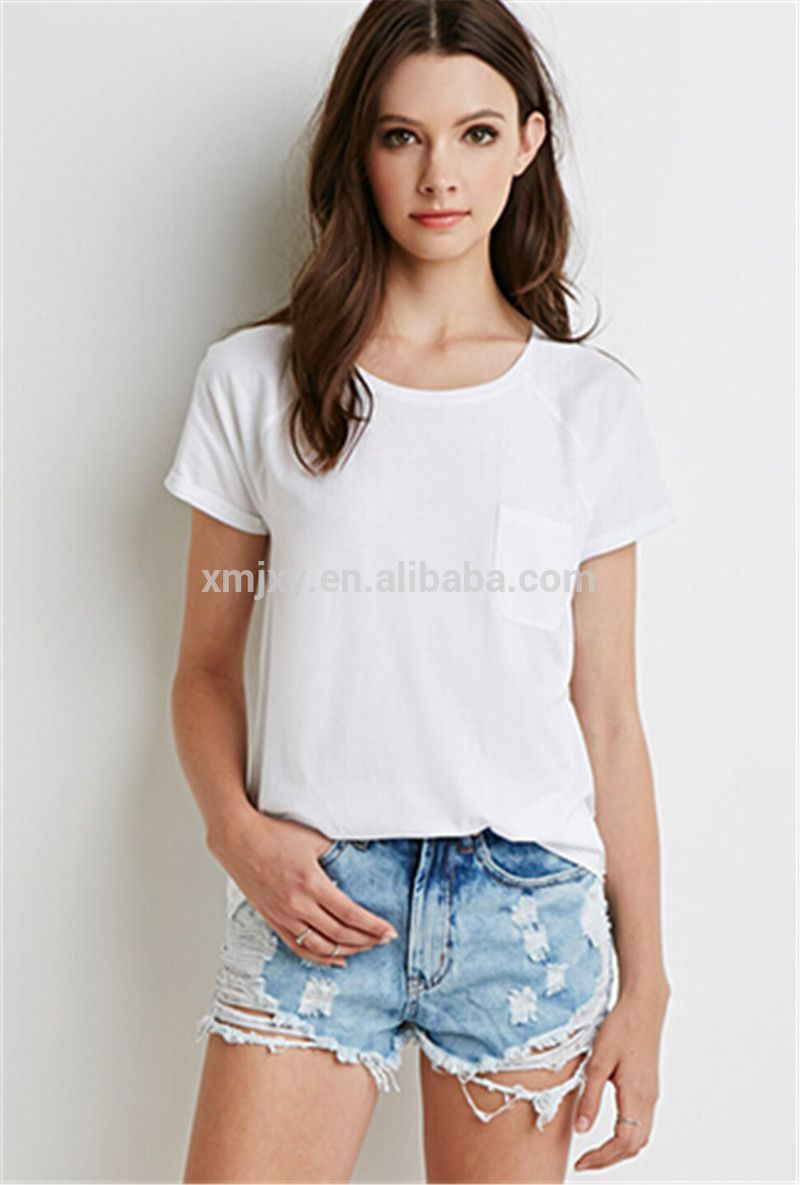 2017 fashion women pocket t shirt cotton plain dyed bulk Cheap plain white shirts