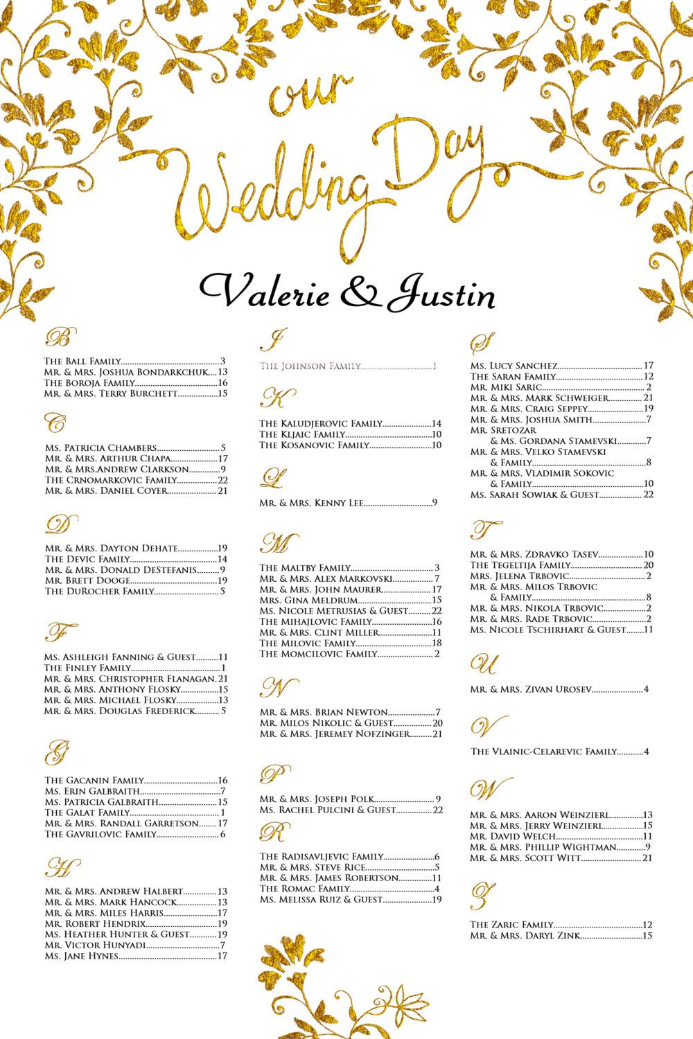 Wedding seating chart poste gold printable or printed available by pleasebeseateddesign on etsy also poster alphabetical order rh pinterest