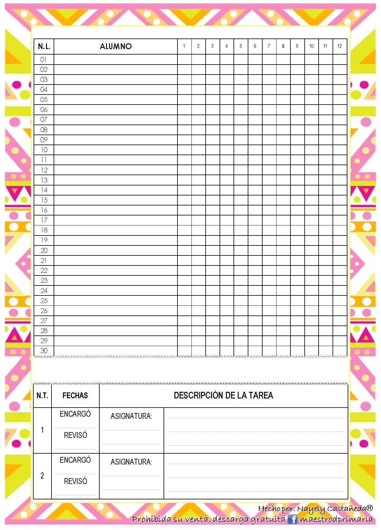 Relacionado Ficha De Observacion Carpeta Del Profesor Agendas Formato lista de asistencia escolar
