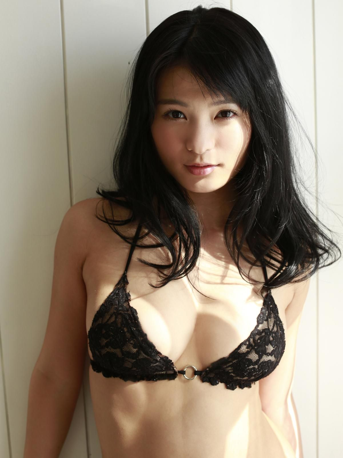 Lovely japanese model in black bikini for