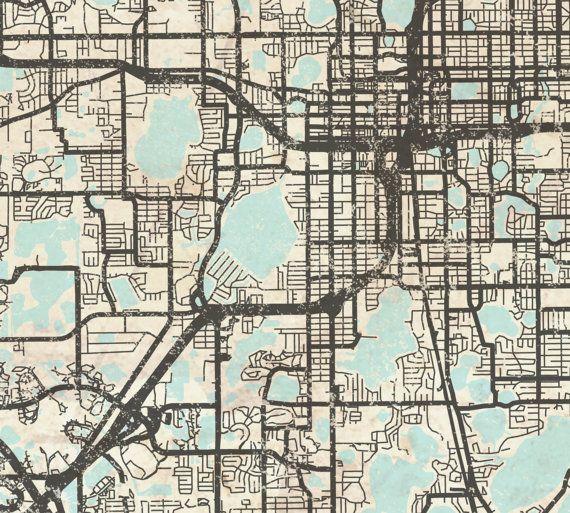 Map Of Orlando Florida.Orlando Fl Canvas Print Florida Fl Orlando Vintage Map Orlando Fl