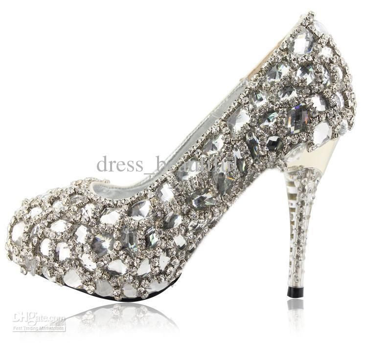 1fdc159821 Hand Design Top White Crystal Diamond Bride Wedding High-Heeled ...