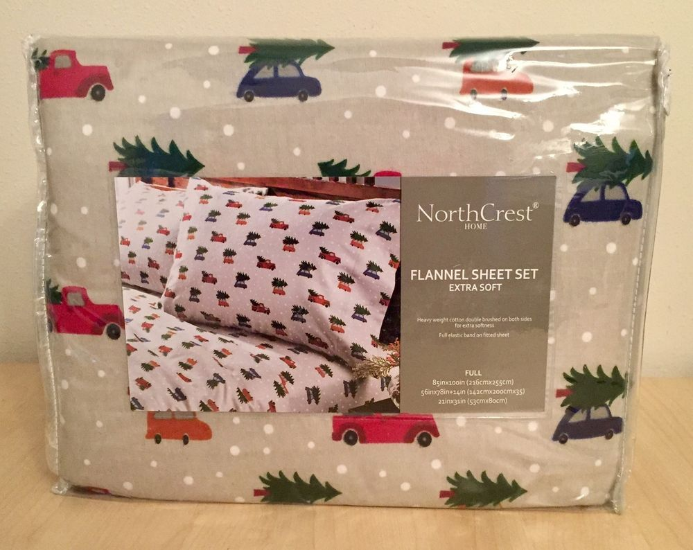 Extra Soft Flannel Sheet Set Full Northcrest Red Truck Christmas Tree Red Truck Christmas Tree Bedding Pink Truck