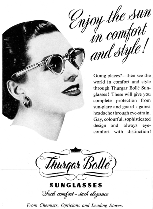 Thurgar Bolle sunglasses advertisement, 1950's