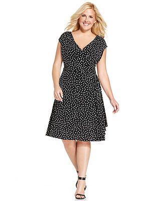67f84e9efae Charter Club Plus Size Dot-Print Faux-Wrap Dress - Dresses - Plus Sizes -  Macy s
