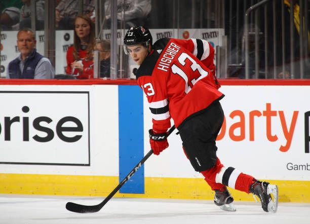 hot sale online 63504 f82ba Nico Hischier of the New Jersey Devils skates against the ...