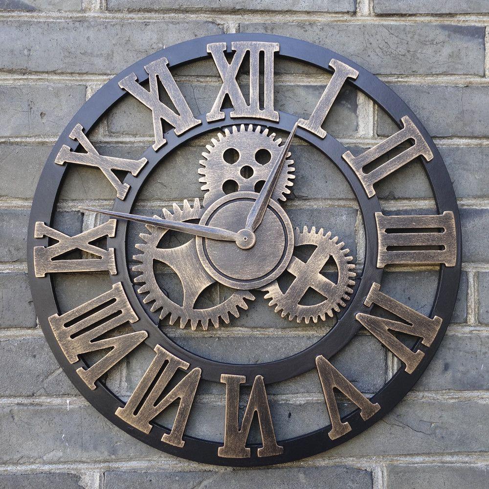 Pin de bergamota en decoraci n reloj pared vintage for Orologi da parete maison du monde