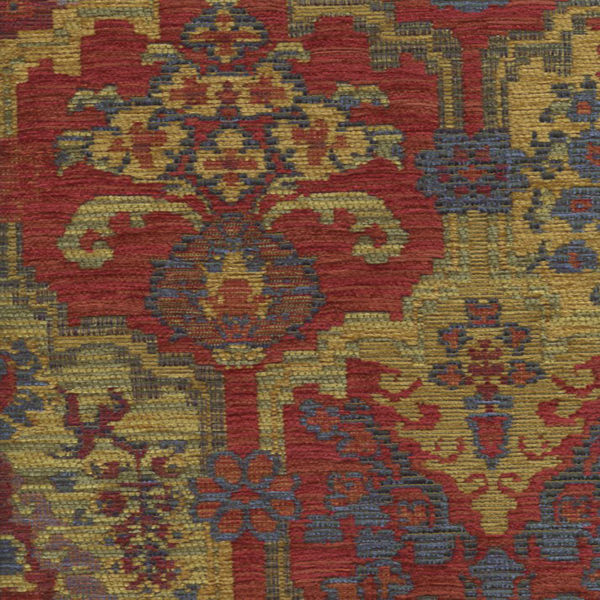 This Is A Beautiful Red,blue And Yellow Jewel Tones Chenille Aztec Design Upholstery  Fabric, Suitable For Any Decor In The Home Or Office.v117AAEF
